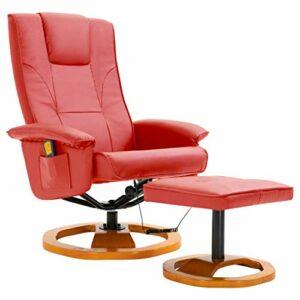 vidaXL Fauteuil de Massage avec Repose-Pied Fauteuil de Relaxation Fauteuil de Salon Electrique Salle de Séjour Maison Intérieur Rouge Similicuir
