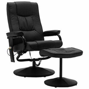 VidaXL Fauteuil de massage avec repose-pieds, fonction chauffante, fauteuil de relaxation, fauteuil de massage, fauteuil de relaxation, fauteuil rembourré en cuir synthétique Noir