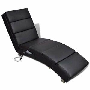 vidaXL Fauteuil de Massage Inclinable Électrique Similicuir Noir Massant