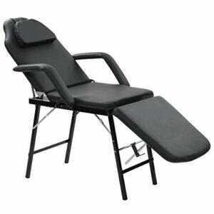 vidaXL Fauteuil de Massage Traitement Facial Simili-cuir Noir Lit de Massage