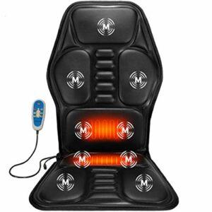 YARDBEAR 2021 Siège massant Chauffant,9 Nœuds Massage Vibration Et 2 Plaquettes Chauffage,Tampon Chaise Massage pour Grand Camion 24V-12V Utilisez Une Chaise Masseur Voiture,Noir,12V