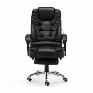 Chef Turk Fauteuil de Bureau Ergonomique Buying Game Chair, Bureau Imitation Chaise en Cuir Reclining électrique Fauteuil de Massage Fonction (Color : Black)