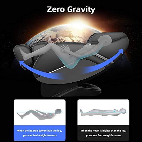 iRest Fauteuil massant pour tout le corps, shiatsu inclinable avec système intégré Zéro Gravité, mains de massage 3D et rouleaux de massage, technologie SL track, haut-parleurs Bluetooth