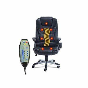 KANJJ-YU Fauteuil de bureau pivotant pivotant jeux Chaise de massage Vibrant 7 Point Wireless Fauteuil de massage Fonction Avec chauffage Fonction Noir PU Chaise en cuir Bureau exécutif Ordinateur Cha