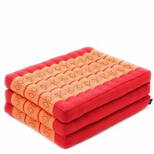 Leewadee Matelas de Massage – Matelas thaï en Kapok Fait à la Main, lit Pliable thaï rembourré en Kapok Artisanal, 200 x 50 cm, Orange Rouge