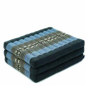 Leewadee Matelas de Massage Taille S – Matelas thaï en kapok Fait à la Main, lit Pliable thaï rembourré en kapok Naturel, 200 x 50 cm, Bleu