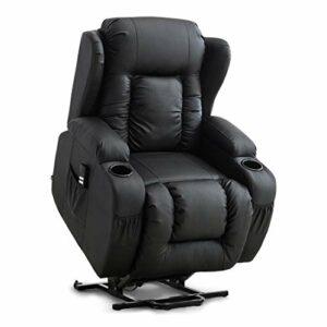 More4Homes Fauteuil de massage électrique à double moteur en cuir reconstitué Compact Noir