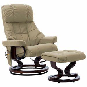 vidaXL Bois Courbé Fauteuil de Massage Inclinable Fauteuil Electrique avec Repose-pied Chaise Salon Salle de Séjour Intérieur Cappuccino Similicuir