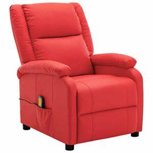 vidaXL Fauteuil de Massage Inclinable Fauteuil de Relaxation Inclinable Electrique Salon Salle de Séjour Maison Intérieur Rouge Similicuir