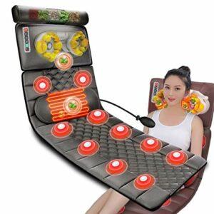 ZMIN Matelas Massant Chauffant, Massage Coussin Chauffant avec9 Modes de Massage pour Tout Le Corp Relaxation des Maux Musculaires