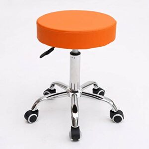 LXYPLM Tabouret de Bar Tabouret pivotant Chaise de Travail réglable Tattoo Hydraulique Spa Siège de Massage en Cuir PU Épais Rembourrage Repose-Pied (Orange) Chaise de Comptoir