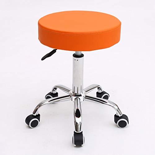 LXYPLM Tabouret de Bar Tabouret pivotant Chaise de Travail réglable Tattoo Hydraulique Spa Siège de Massage en Cuir PU Épais Rembourrage Repose-Pied (Orange) Chaise de Comptoir