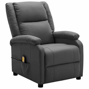 Unfade Memory Fauteuil de Massage inclinable Anthracite Similicuir