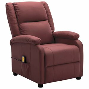 Unfade Memory Fauteuil de Massage inclinable Rouge Bordeaux Similicuir