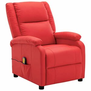 Unfade Memory Fauteuil de Massage inclinable Rouge Similicuir