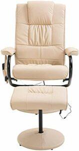 Couverture repose-pieds fauteuil de massage en cuir 360 rotation degrés Tabouret moderne doux épais coussin,Beige