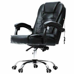 Fauteuil de bureau ergonomique avec hauteur et inclinaison réglables | Fauteuil de bureau avec repose-pieds et roulettes | Fauteuil de massage inclinable confortable en similicuir noir