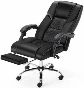 LG Snow Chaise de bureau ergonomique en cuir – Fauteuil de bureau – Fauteuil de massage – Fauteuil de jeu inclinable et rotatif avec repose-pieds