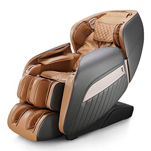 Naipo Fauteuil de massage électrique, siège de massage inclinable pour tout le corps, 12 programmes de massage, techniques de massage professionnelles, chaise relax pour la maison/le bureau, brun