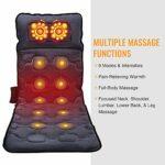 Rongchuang Masseur de dos Shiatsu Coussin de siège de massage avec fonction de chaleur et vibration 9 modes Coussin thermique de massage Tapis de vibration avec minuteur