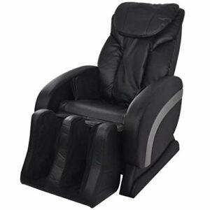 SKM Fauteuil de Massage Noir Similicuir -4300