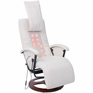 SKM Fauteuil de Massage shiatsu Blanc Similicuir