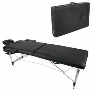 Table de Massage Pliante Lit de massage Pliable Réglable en Hauteur avec 2 Zones Banc de Massage Ergonomique en Aluminium et Cuir PU Fauteuil de Massage avec Sac pour Thérapie Salon, noir, 60×185 cm