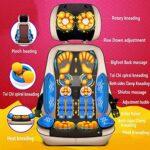 Tapis de Chaise de Massage électrique Professionnel Complet avec Chaleur, pétrissage Profond Shiatsu Roulement Vibration Coussin de siège de Massage multimode réglable en Hauteur, détachable pour la