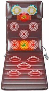 Tapis de massage électrique, tapis de massage en mousse de mémoire avec chaleur, tapis de massage vibrante avec 10 moteurs de vibration, tampon de matelas de massage corporel pour