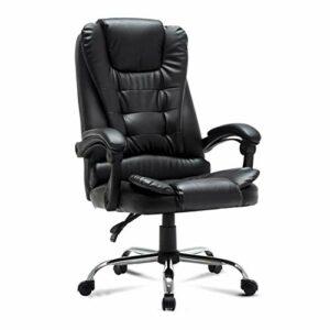 Chaise de Bureau Ergonomique Chaise d'ordinateur Home Fauteuil de Massage Rotatif Chaise de Jeu en Cuir réglable avec Repose-Pieds et accoudoir (Color : Black)