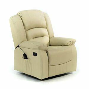 ECO-DE Fauteuil De Massage Relaxant Avec Fonction Chauffante. 9 Programmes 5 intensités 8 Moteur. Similicuir Haute Qualité. ECO-8198 Beig