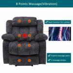 Fauteuil de massage électrique inclinable avec chaleur et vibration, tissu antidérapant, fauteuil élévateur de salon avec poche latérale et porte-gobelets pour personnes âgées (gris)