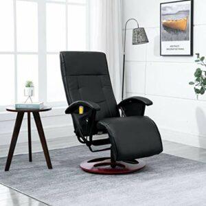 SKM Fauteuil de Massage Noir Similicuir -0311