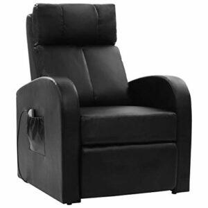 SKM Fauteuil de Massage Noir Similicuir -0595