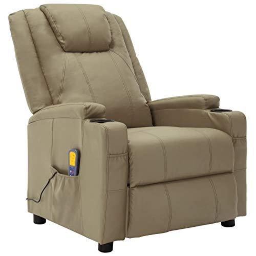 vidaXL Fauteuil de Massage Inclinable Fauteuil de Relaxation Electrique Salon Salle de Séjour Intérieur Inclinaison Chauffage Cappuccino Similicuir