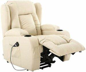 Fauteuil de massage inclinable de hauteur de chauffage électrique et fauteuil de canapé en cuir,White