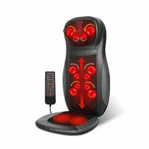 Futchoy Coussin de Siège de Massage 220V 70W Masseur Electrique avec Chaleur pour Dos et Cou Siège Massant pour Détendre les Muscles du dos à la Maison ou au Bureau (noir)