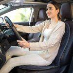 XTZJ Coussin de siège de massage avec chaleur – Tapis de support en mousse à mémoire de mémoire supplémentaire dans le cou et lombaire, 3 moteurs de massage de vibration, 2 niveaux de chaleur, tampon