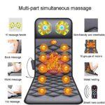 Coussin de massage de la colonne cervicale et lombaire avec fonction chauffante, matelas de massage, coussin de massage électrique, 10 groupes de moteurs, synchronisation à 3 vitesses/Noir / 1