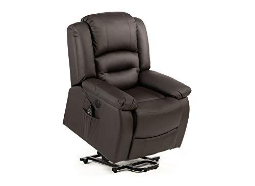 ECODE Fauteuil de massage lève-personnes Maximum 9 modes de massage, système de levage par bouton avec USB, LED (marron)