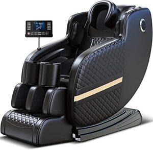 Fauteuil de massage Intelligent de luxe – 20 fonctions de massage, pressothérapie, chauffage en fibre de carbone, réflexothérapie plantaire, Espace et Gravité «Zéro», son 3D, Bluetooth