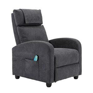 HOMOPIV Fauteuil de relaxation avec fonction couchage, fonction massage, fonction chauffante, fauteuil de massage avec télécommande, fauteuil de repos en tissu gris