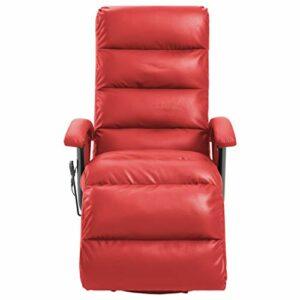 Ksodgun Fauteuil de Massage TV Electrique Chaise de Massage Fauteuil Inclinable Chaise Inclinable Salon Salle de Séjour Chambre Rouge Similicuir