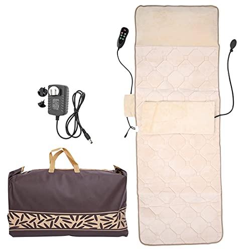Matelas de Massage – Tapis de Massage Complet du Corps Coussin de Chaise de Massage électrique Chauffage Multifonctionnel Pétrissage Vibrant Coussin de Massage Coussin de Matelas de Massage(EU)