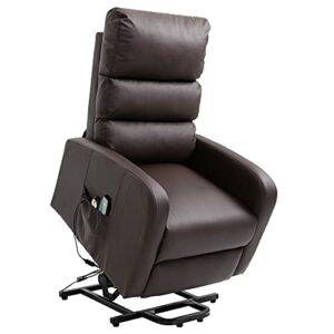 Mingfuxin Fauteuil de massage électrique inclinable avec chaleur et vibration pour personnes âgées, en cuir PU robuste et sécurité Mécanisme d'inclinaison avec télécommande Marron