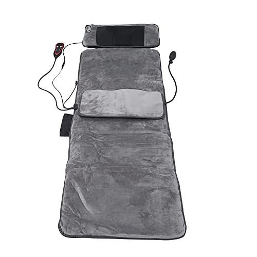 Tapis de Massage Électrique avec 10 Moteurs, Coussin de matelas de massage vibrant 9 Modes de Massage et Chauffage, Masseur de Vibrations de Thérapie Complet du Corps pour soulager la douleur (EU)