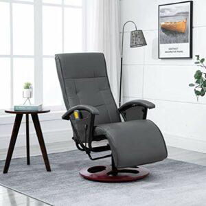 Tidyard Fauteuil de Massage Chaise de Massage Electrique Gris Similicuir