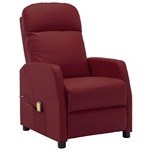 vidaXL Fauteuil de Massage Inclinable Fauteuil de Relaxation Electrique Salle de Séjour Salon Maison Inclinaison Chauffage Rouge Bordeaux Similicuir