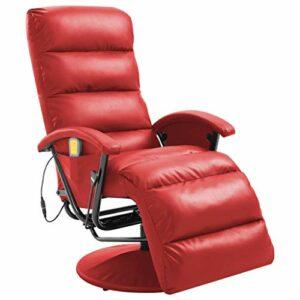 vidaXL Fauteuil de Massage TV Electrique Chaise de Massage Fauteuil Inclinable Chaise Inclinable Salon Salle de Séjour Chambre Rouge Similicuir