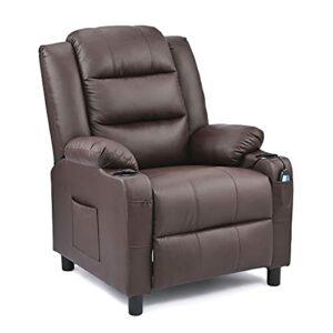 VONLUCE Fauteuil de Massage Inclinable Electrique, Fauteuil de Relaxation PU pour Salon Bureau Salle de Séjour, Fauteuil Massant Relax (Marron)